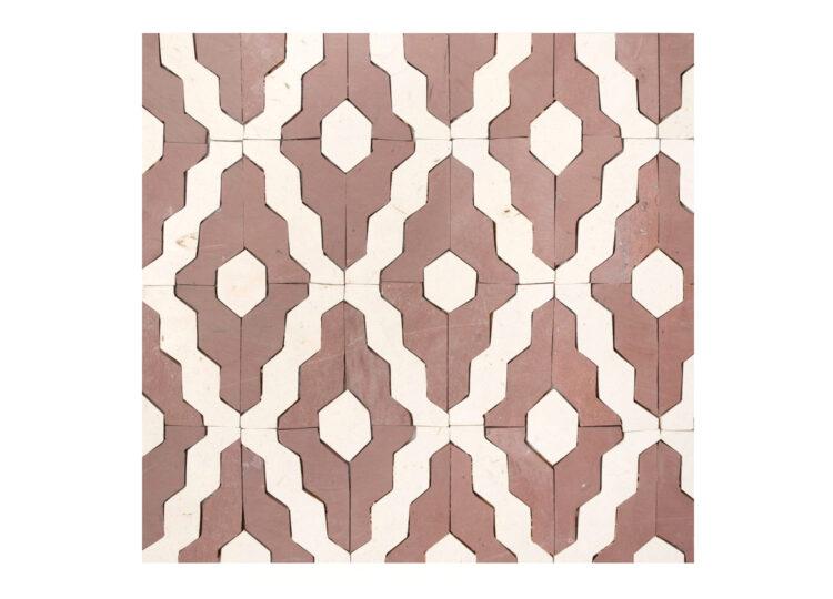 Tunisian Mosaic Argyle Red + Beige