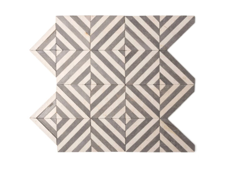 Tunisian Mosaic Stripes Grey + Beige