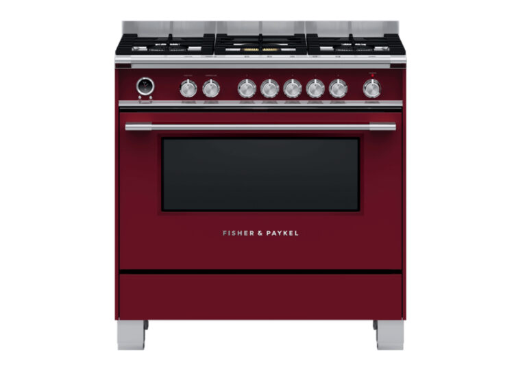 est living fisher paykel series 9 90cm freestanding dual fuel cooker red 750x540