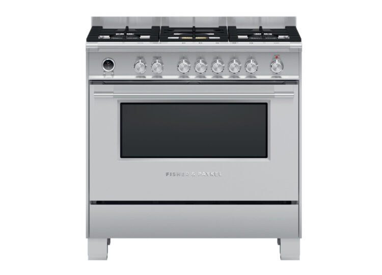 est living fisher paykel series 9 90cm freestanding dual fuel cooker stainless steel 750x540