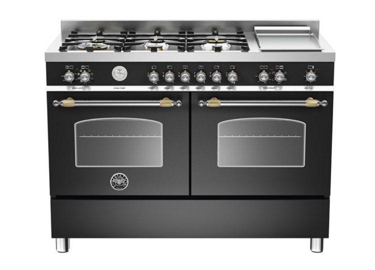 Bertazzoni Heritage 120cm 6-Burner Upright Cooker + Electric Double Oven (Nero Matt)