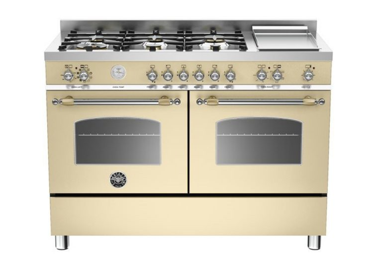 Bertazzoni Heritage 120cm 6-Burner Upright Cooker + Electric Double Oven (Nero Crema)