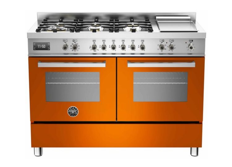 Bertazzoni Professional 120cm 6-Burner Upright Cooker + Griddle Electric Double Oven (Arancio)
