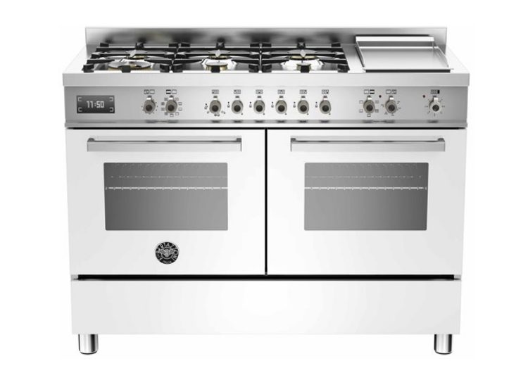 Bertazzoni Professional 120cm 6-Burner Upright Cooker + Griddle Electric Double Oven (Bianco)