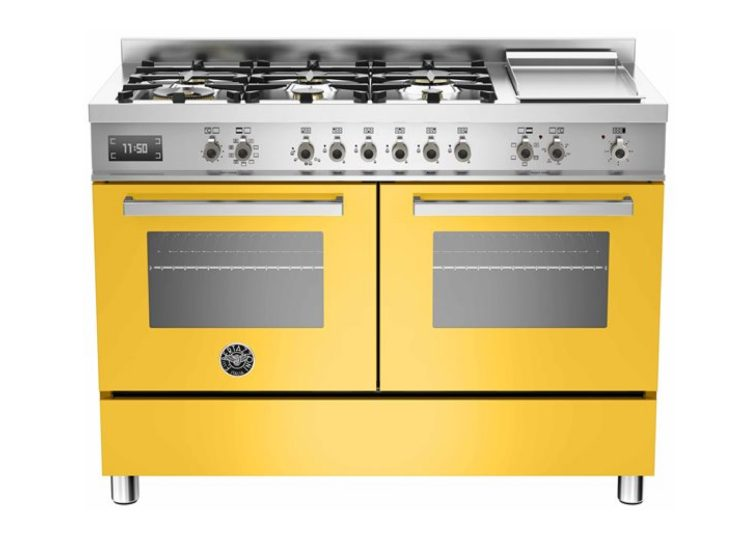 est living bertazzoni professional 120cm 6 burner upright cooker griddle electric double oven giallo 750x540