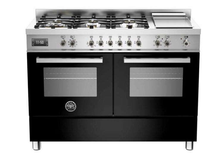 Bertazzoni Professional 120cm 6-Burner Upright Cooker + Griddle Electric Double Oven (Nero)