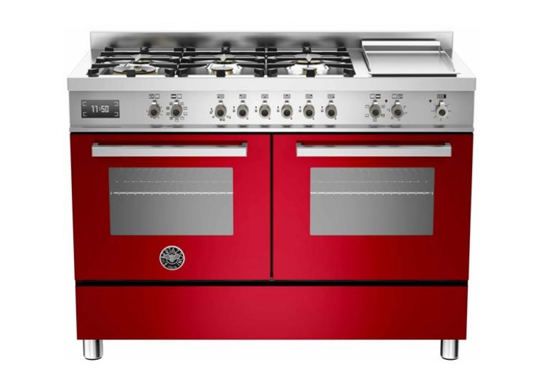 Bertazzoni Professional 120cm 6-Burner Upright Cooker + Griddle Electric Double Oven (Rosso)
