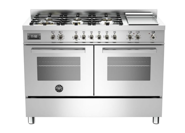Bertazzoni Professional 120cm 6-Burner Upright Cooker + Griddle Electric Double Oven (Stainless Steel)