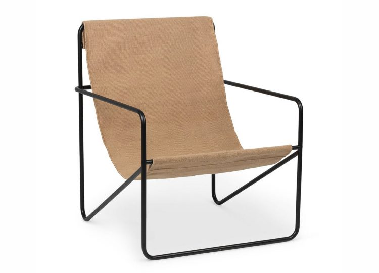 Ferm Living Desert Indoor Outdoor Lounge Chair (Black/Solid Cashmere)