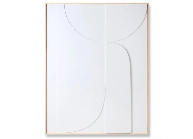 HK Living Framed Relief Art Panel B (White)