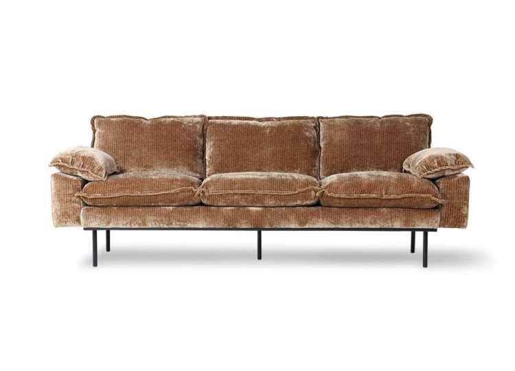 HKliving Retro 3 Seater Sofa – Corduroy Velvet (Aged Gold)