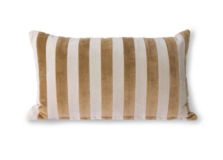 HKliving Striped Velvet Cushion (Brown/Natural)