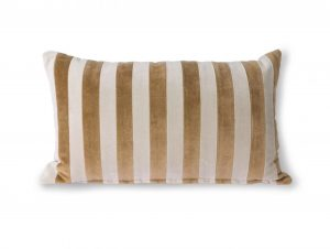 HK Living Striped Velvet Cushion Brown/Natural (30×50)