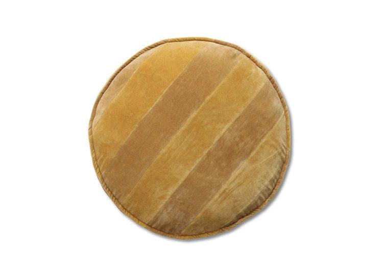 HKliving Striped Velvet Seat Cushion – Round (Ochre/Gold)