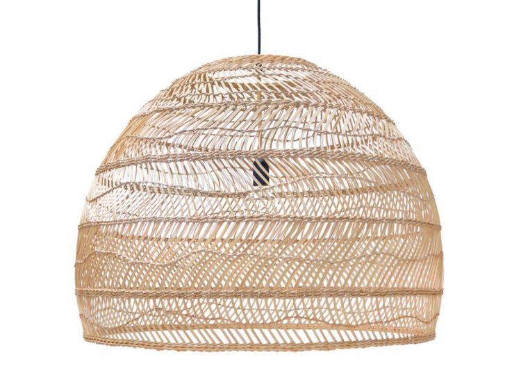 HK Living Wicker Ball Lamp Large (Natural)
