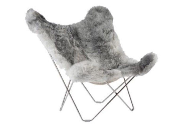 Cuero Shorn Grey Icelandic Butterfly Chair