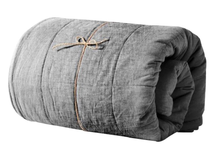 Aura Home Chambray Bed Cover Smoke
