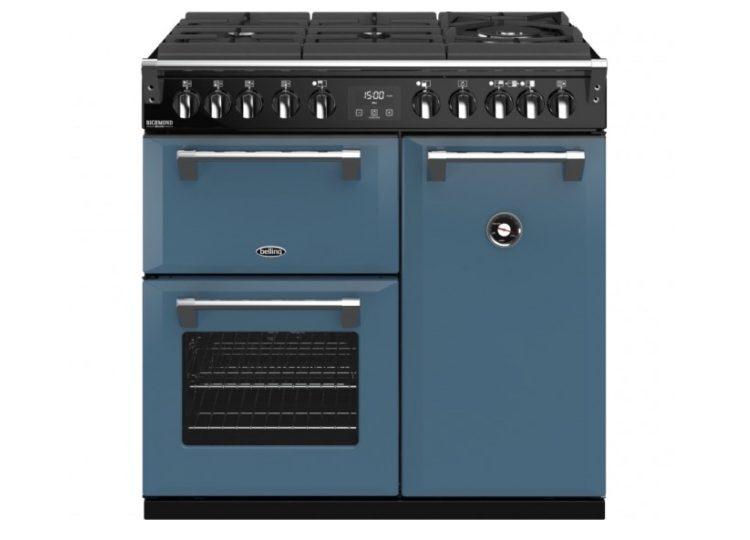 Belling Colour Boutique Deluxe 90cm Gas-Through-Glass Range Cooker – Thunder Blue
