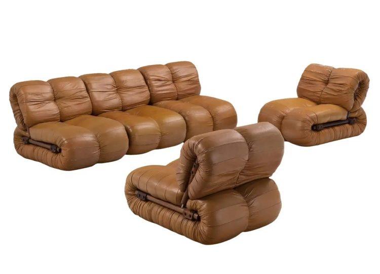 Percival Lafer Modular Sofa (Rosewood & Leather)