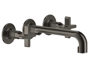 Gessi Inciso Cross Handles Wall Mounted Three-Hole Basin with Spout without Waste