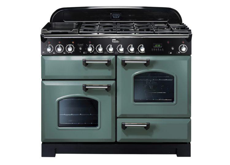 Falcon Classic Deluxe 110cm Dual Fuel Range Cooker (Mineral Green & Chrome)