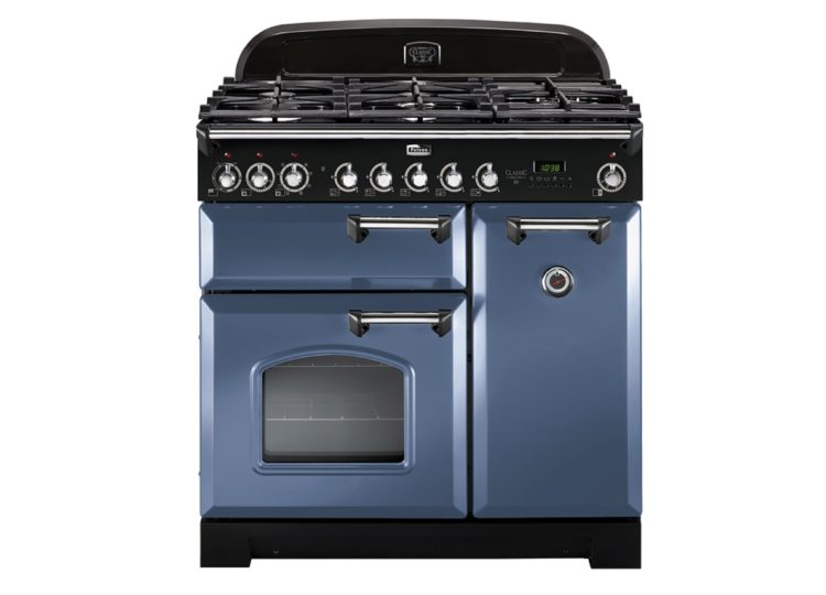 Falcon Classic Deluxe 90cm Dual Fuel Range Cooker (Stone Blue & Chrome)