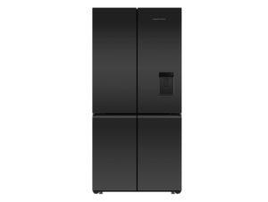 Fisher & Paykel Series 7 | Contemporary Matt Black Glass Freestanding Quad Door Refrigerator