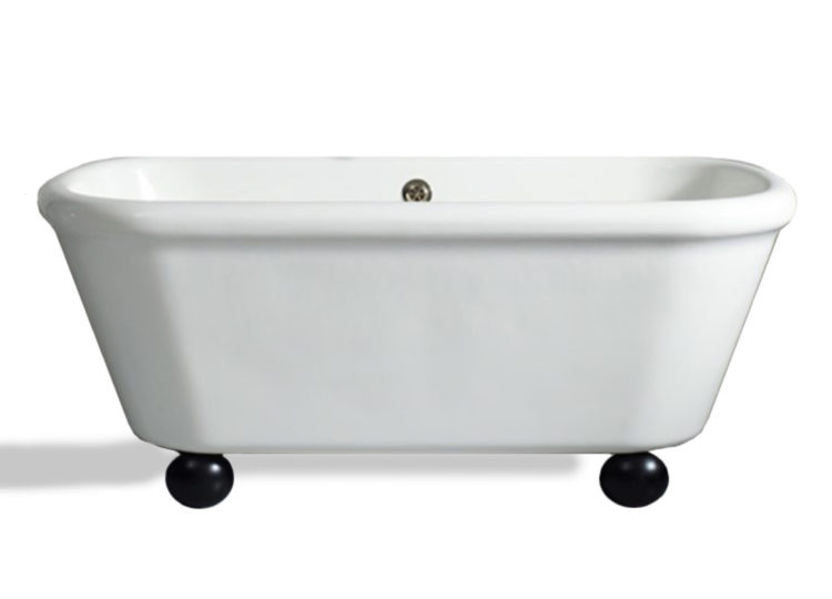 The Water Monopoly Rockwell Bath in White with Ink Gloss Black Feet