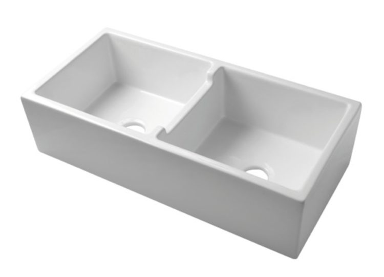 Acquello White Double Fireclay Sink with Centre Division