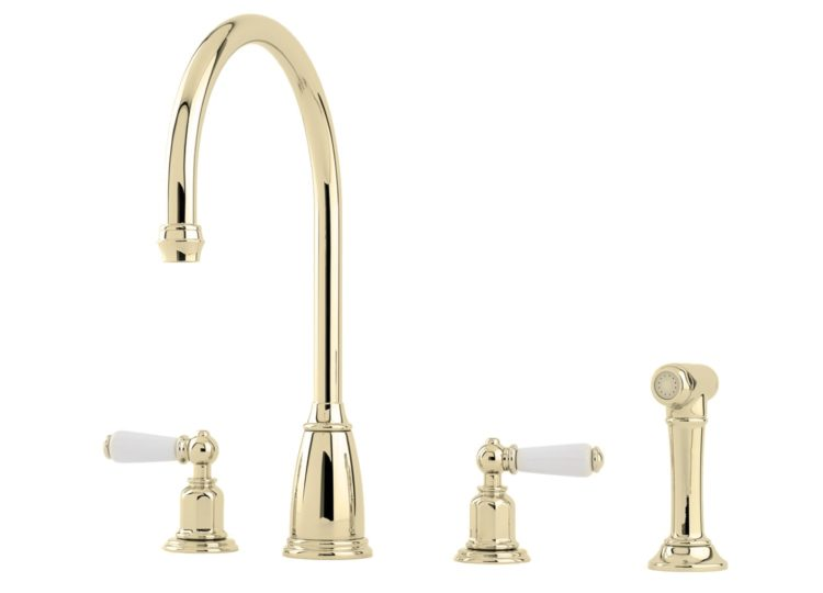 Perrin & Rowe Athenian Four Hole Sink Mixer with Porcelain Levers and Spray Rinse