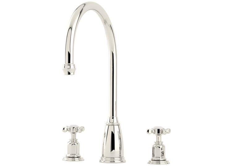 Perrin & Rowe Athenian Three Hole Sink Mixer with Crossheads