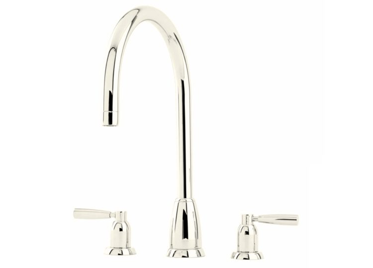 Perrin & Rowe Callisto Three Hole Sink Mixer with Metal Levers and Round Spout
