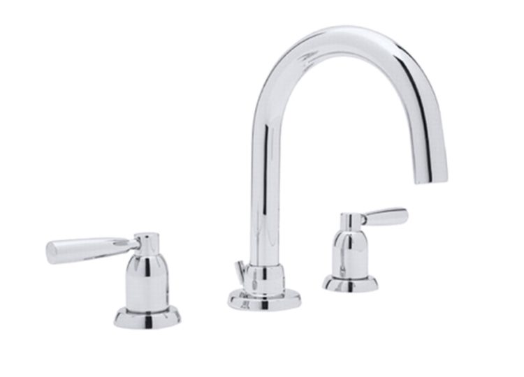 Perrin & Rowe Contemporary Three Hole Basin Set with Tubular Spout and Metal Levers