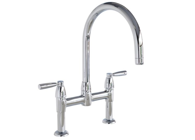 Perrin & Rowe Lo Two Hole Bench Mounted Mixer with Metal Levers & Round Spout