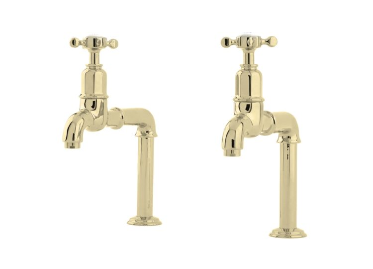 Perrin & Rowe Mayan Bench Mounted Bibcock Taps with Crossheads