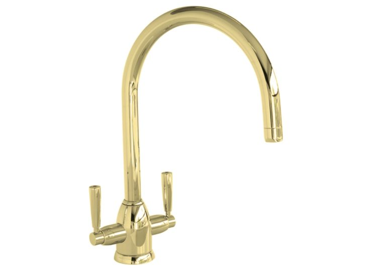 Perrin & Rowe Oberon One Hole Sink Mixer with Twin Metal Levers and Round Spout