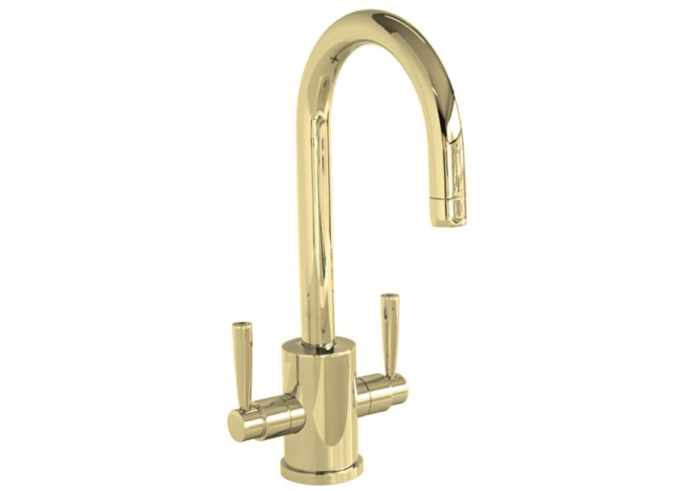 Perrin & Rowe Orbiq One Hole Sink Mixer with Metal Levers & Round Bar Sink Spout