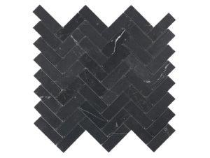 Teranova Nero Marquina Herringbone Mosaic